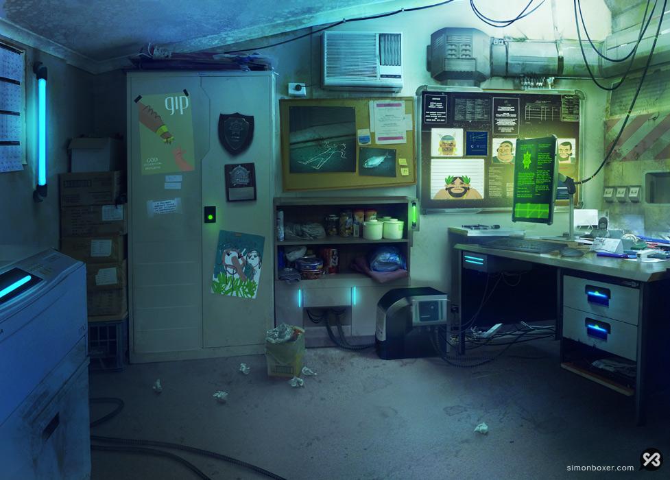 Background painting Ganeshas office matte painting digital art