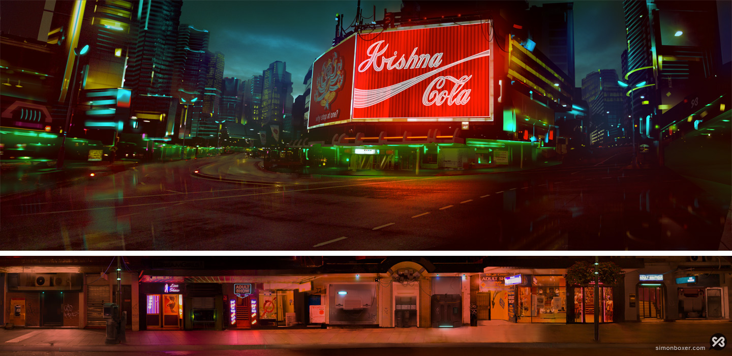 Background painting city establishing shot Krishna Cola sign and red light district strip matte painting digital art