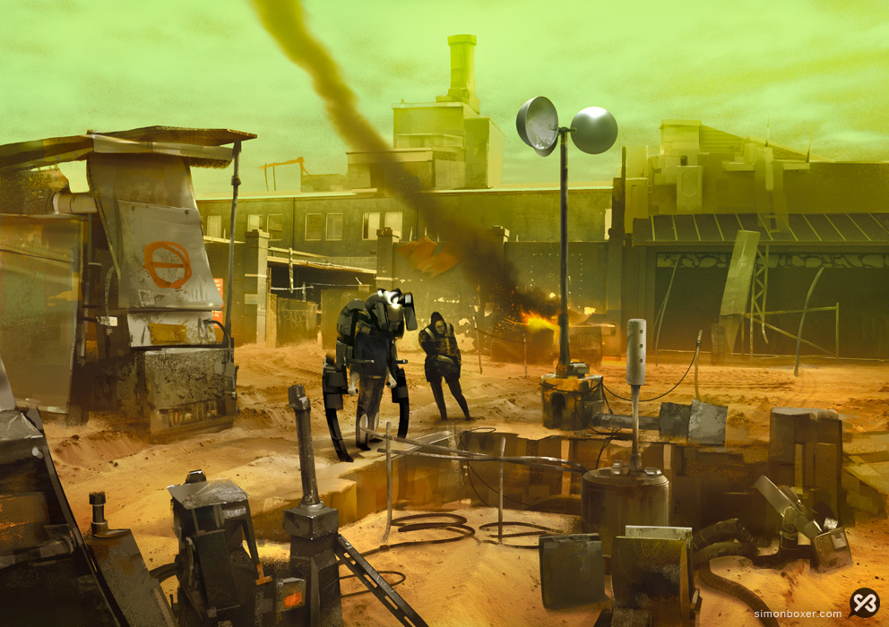Post apocalyptic Brisbane environment concept art digital painting matte